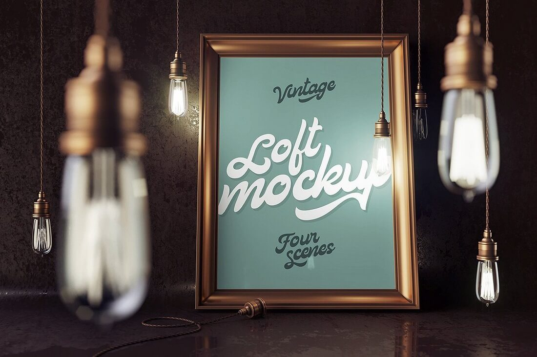 4-Loft-Mockups 40+ Stunning Vintage Mockup Packs & Graphics design tips