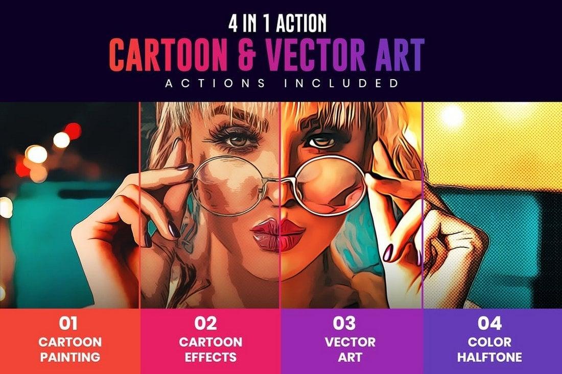 4 in 1 Cartoon & Vector Art Photoshop functions