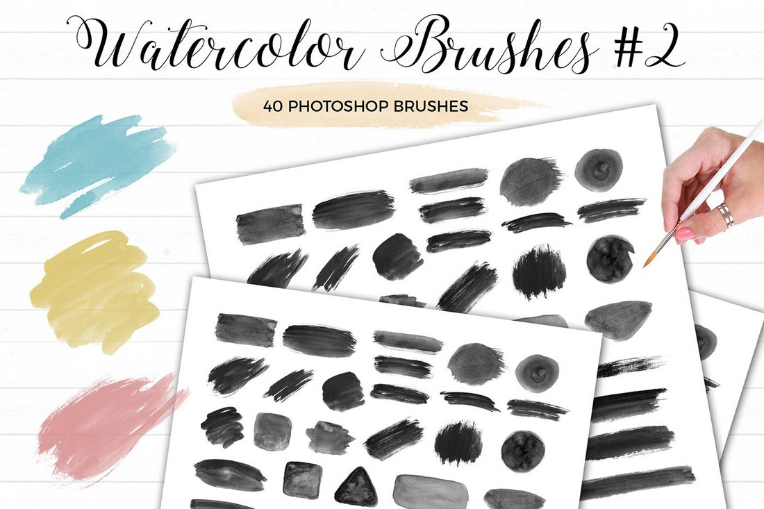 40 Free Watercolor Photoshop Brushes