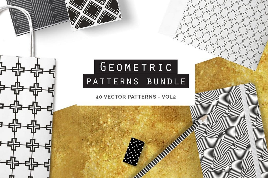 40 Geometric Seamless Patterns Bundle