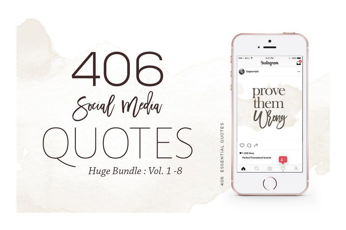 406-Instagram-Essential-Quotes-Bundle 20+ Best Social Media Kit Templates & Graphics design tips