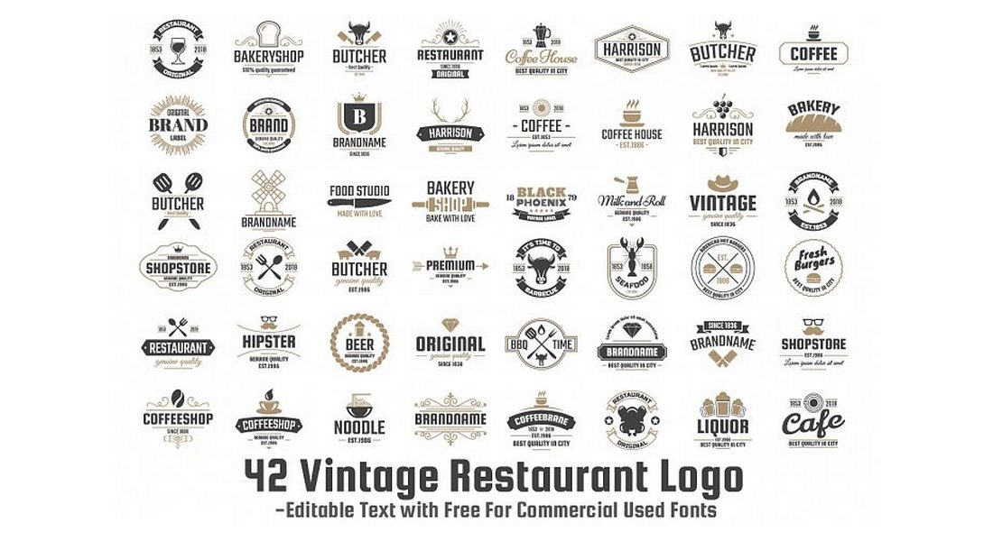 42 Vintage Logo Templates Set