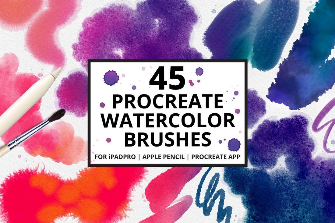 45-Procreate-4-Watercolor-Brushes 30+ Best Procreate Brushes design tips