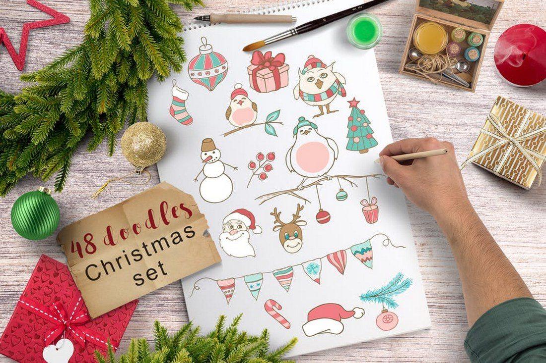 48-Christmas-Doodles 70+ Christmas Mockups, Icons, Graphics & Resources design tips