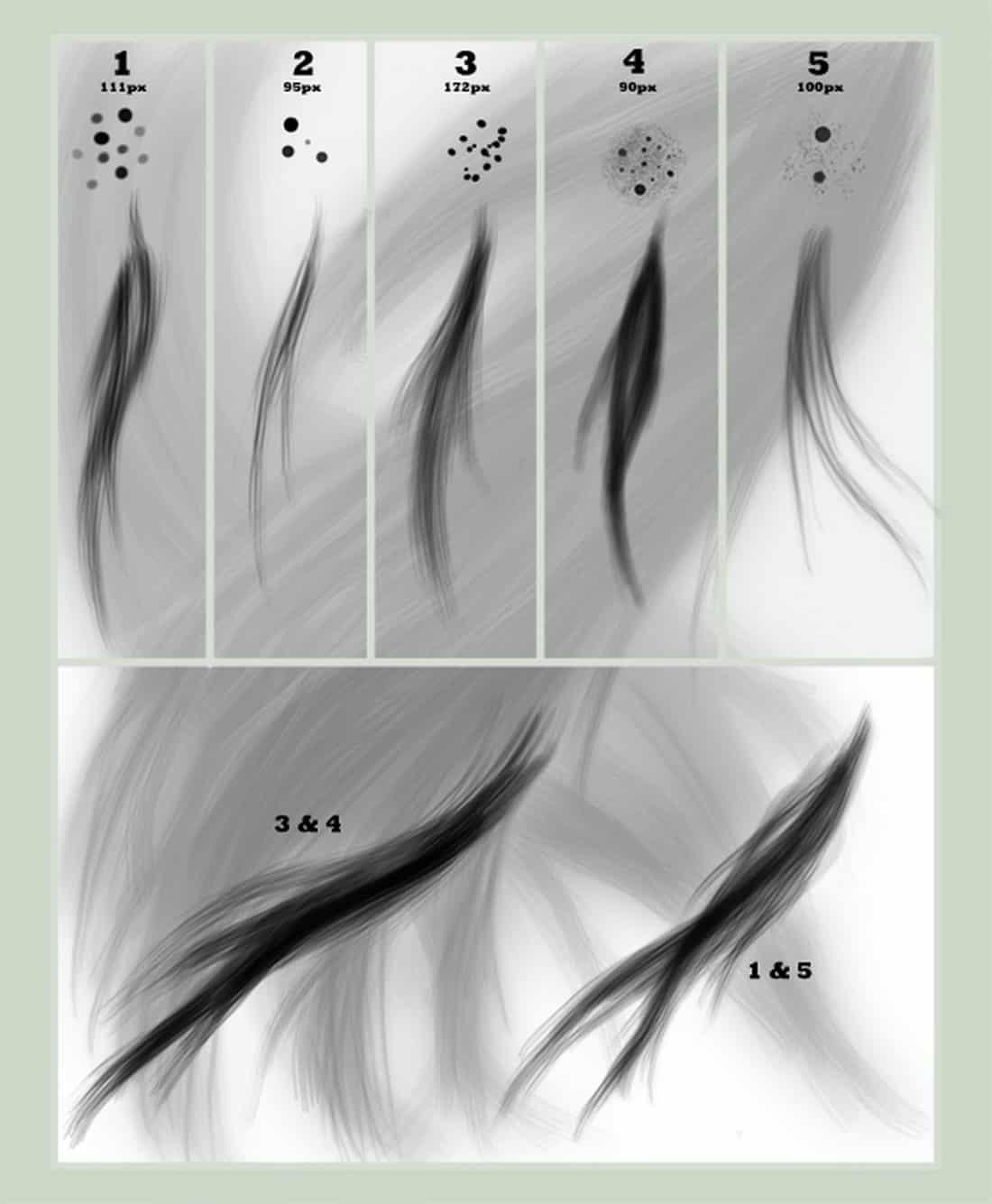 5 Custom Hair Brush Set