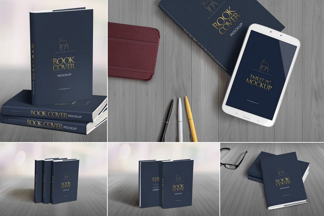 5-Hardcover-Book-Mockup-Templates 20+ Best Book Cover Mockup Templates design tips