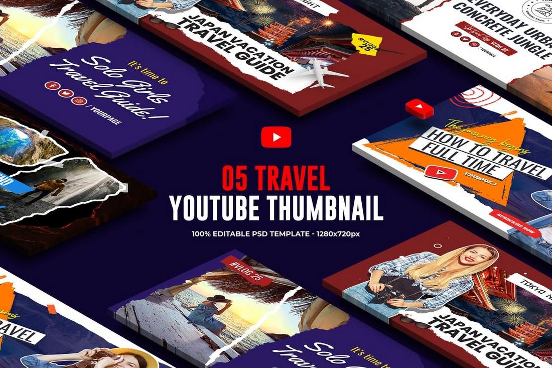 5 Travel & Vacation YouTube Thumbnail Templates