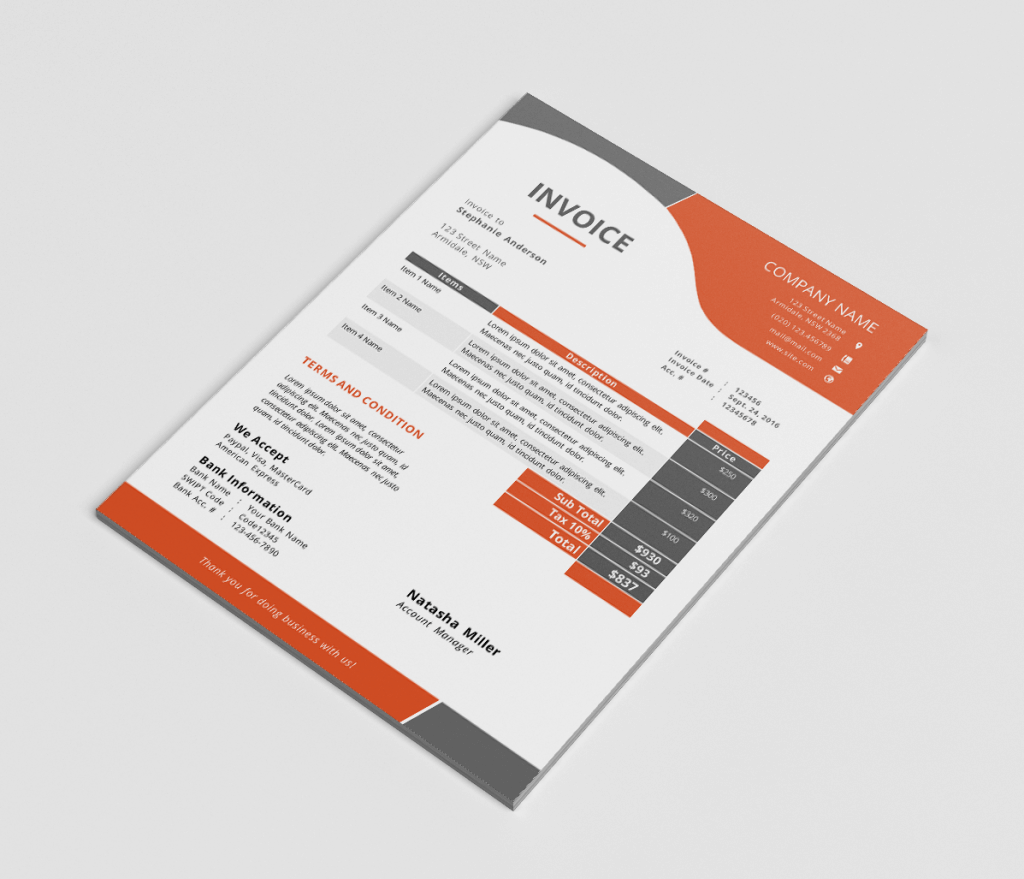 Modern Stationery Templates Design Shack - Corporate invoice template
