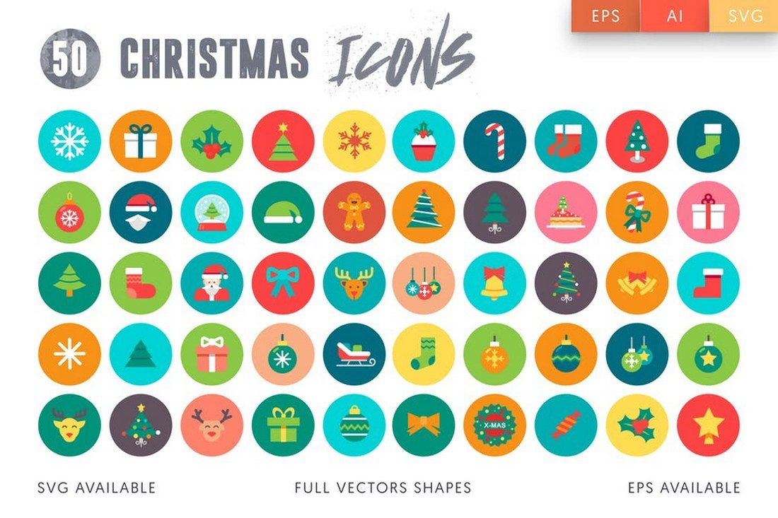 50-Flat-Christmas-Icons 70+ Christmas Mockups, Icons, Graphics & Resources design tips