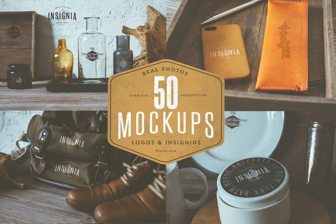 50 Hip Vintage Logo Overlay Mockups