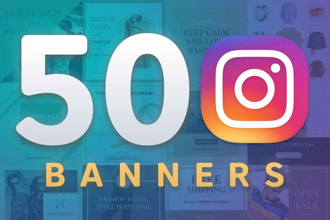 50 Instagram Banners & Post Templates Pack