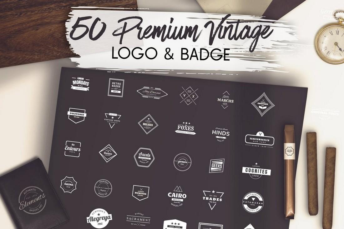 50 Premium Vintage Logo & Badge Templates