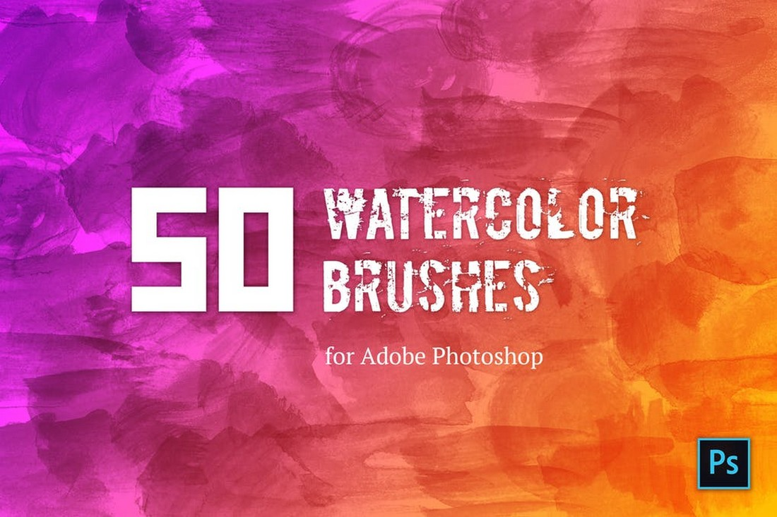 50 Watercolor Brushes For Photoshop