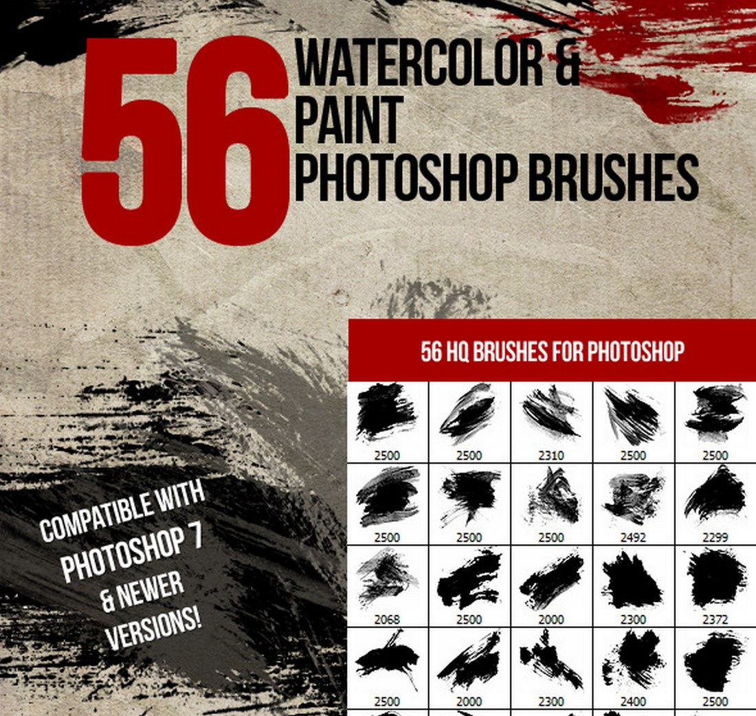 56 Watercolor & Paint Photoshop Brushes