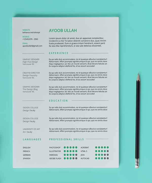 plain green themed resume template - Resume Templates Indesign