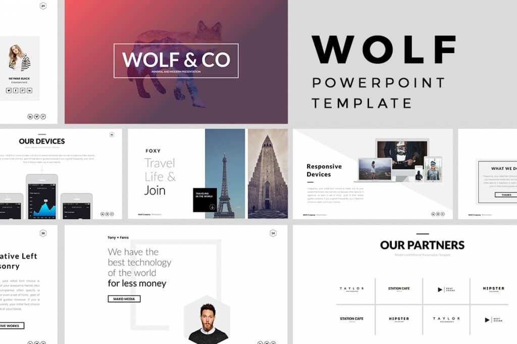 25 best minimal powerpoint templates 2018 design shack wolf is a minimal powerpoint presentation template suitable for personal portfolio and business presentations its very easy to customize to fit your needs toneelgroepblik Gallery