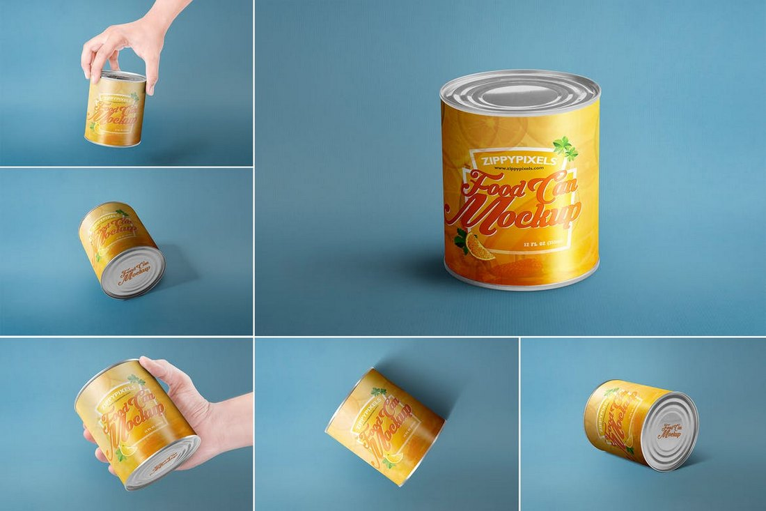 6 Can Packaging Mockups