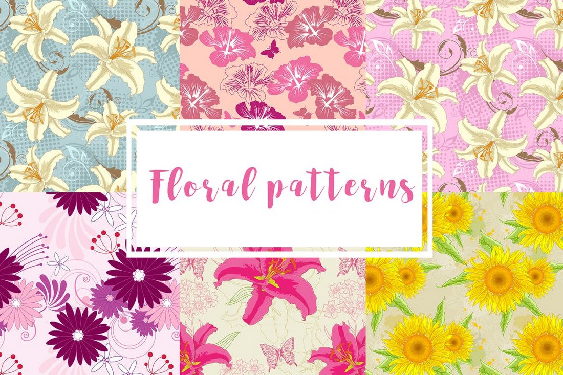 6 Floral Seamless Pattern Backgrounds