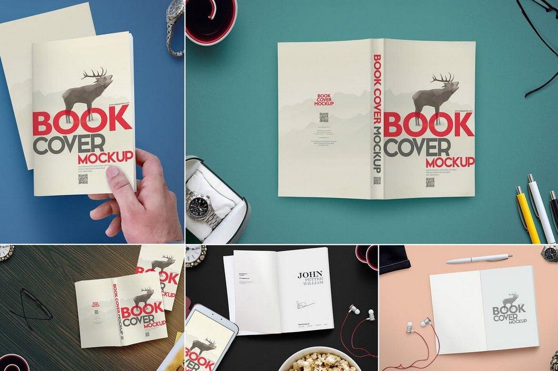 6 Modern Book Cover Mockups Scenes