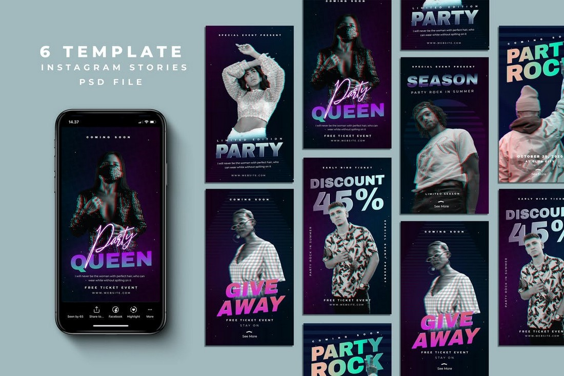 6 Party Instagram Story Templates