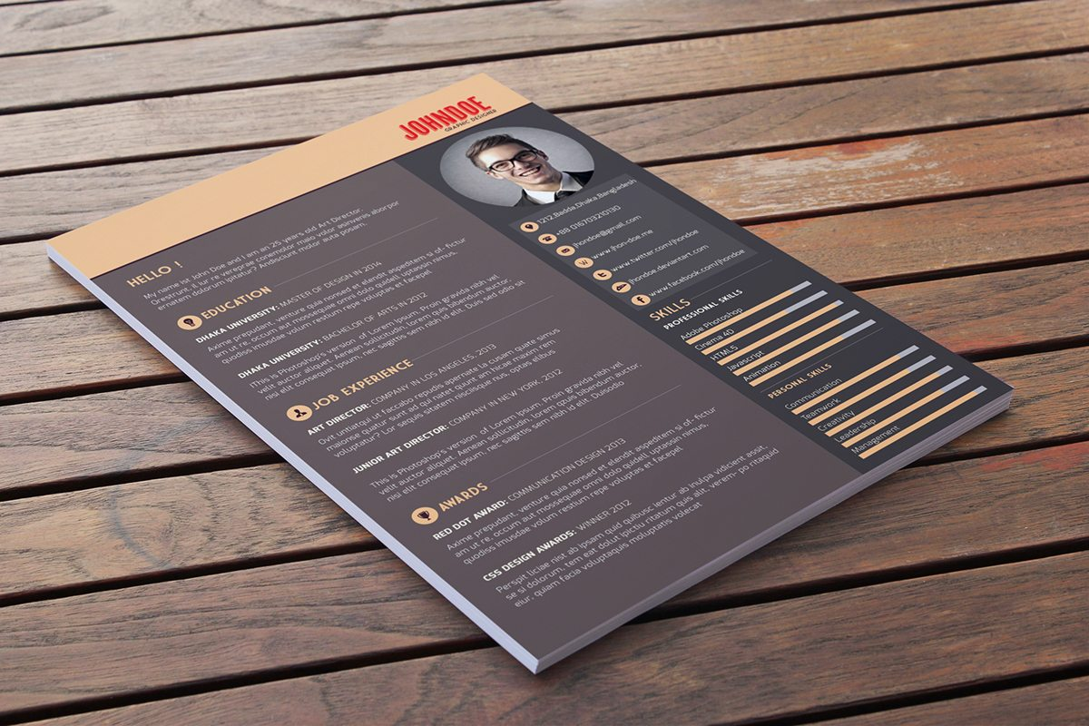 simple, dark themed resume template that is available for free. You ...