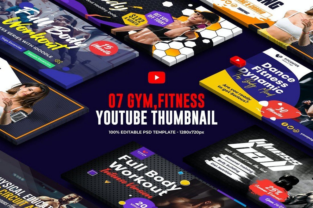 7-Gym-Fitness-YouTube-Thumbnail-Templates 20+ Best YouTube Thumbnail Templates in 2021 design tips