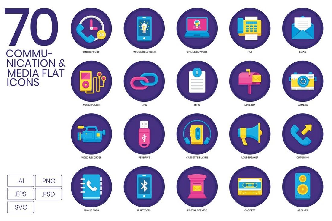 70 Communication & Media Adobe XD Icon Set