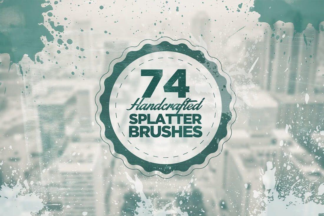 74-Handcrafted-Splatter-Brushes 30+ Best High-Quality Photoshop & Illustrator Brushes design tips