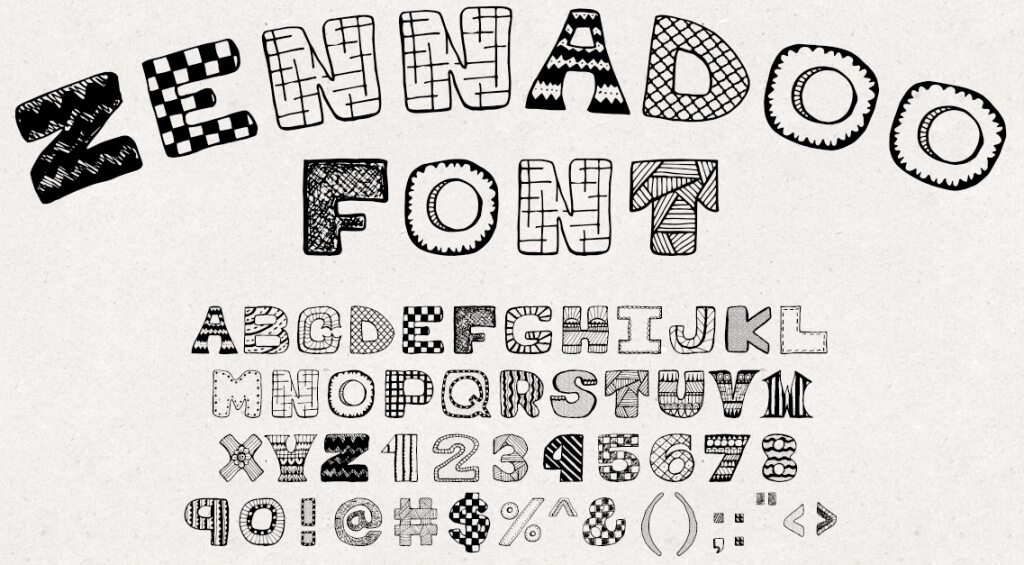 zennadoo is a creative all caps font hand drawn to perfection a great choice if youre looking for numbers and digits with a bit more impact than normal