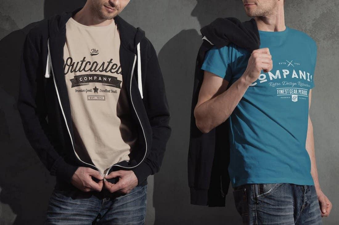 8 Men's Crew Neck T-Shirt Mockup Templates
