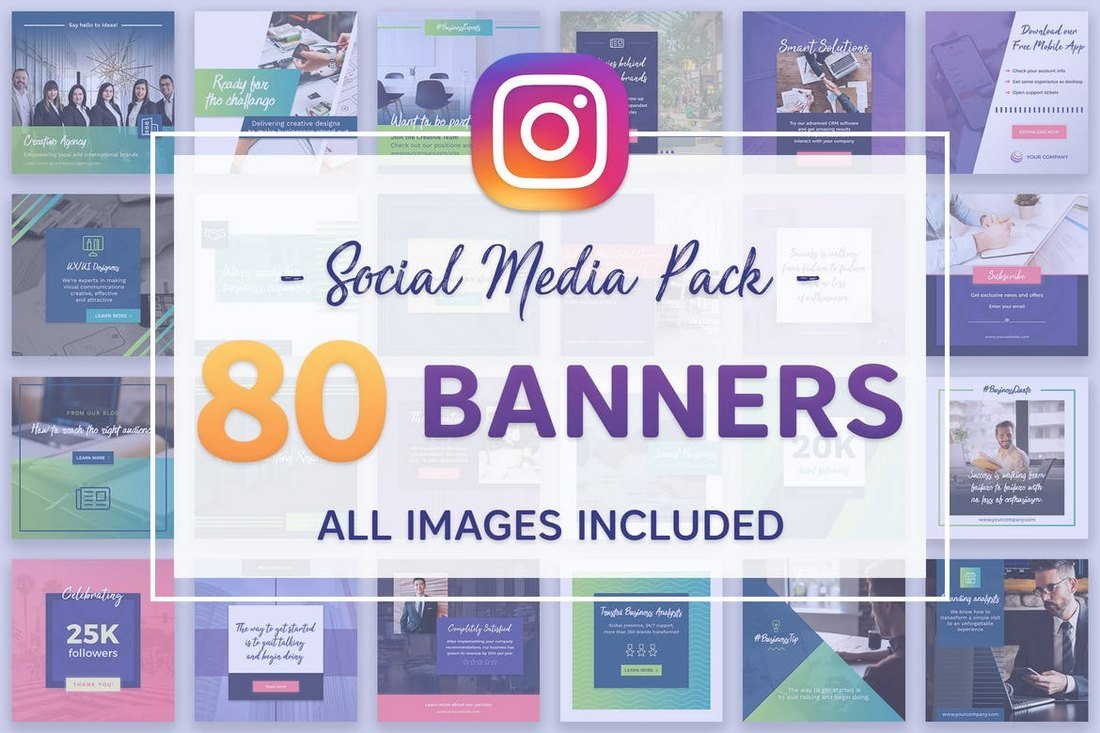 80-Instagram-Banners-Bundle 30+ Best Instagram Templates & Banners design tips