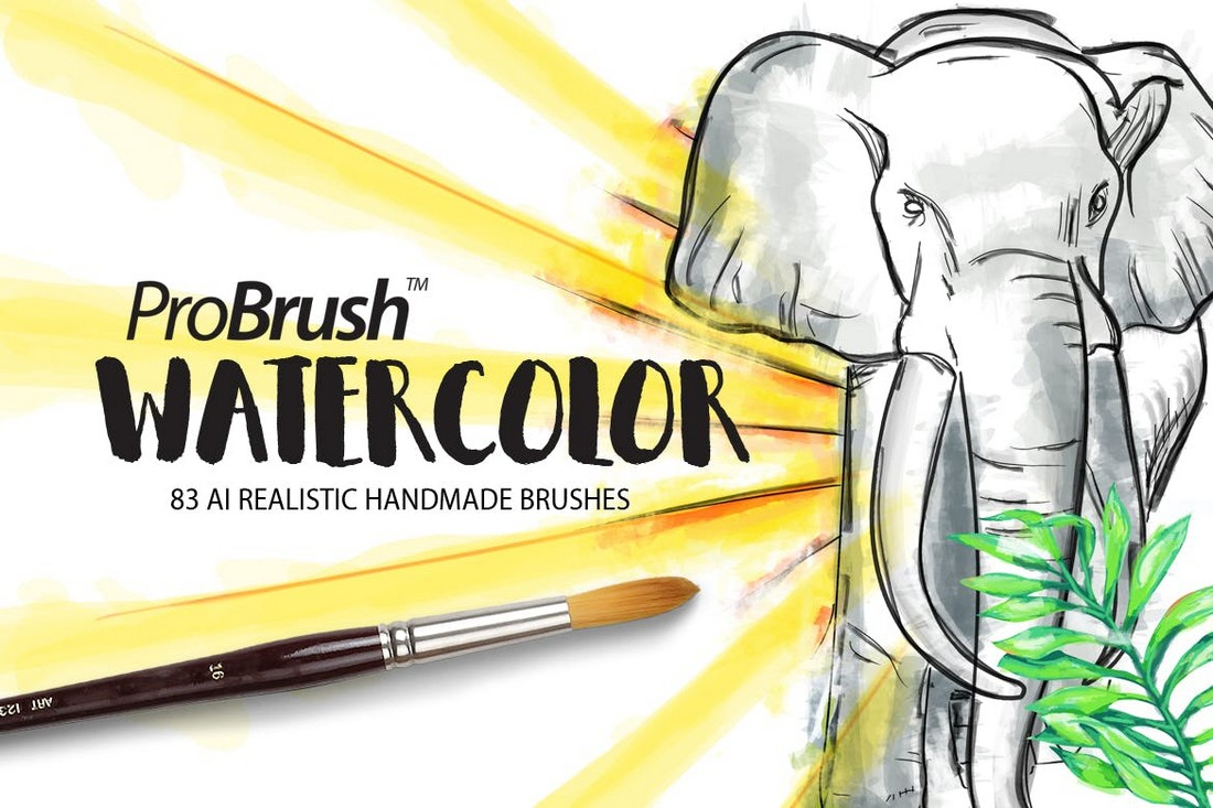 80+ Watercolor ProBrushes for Illustrator