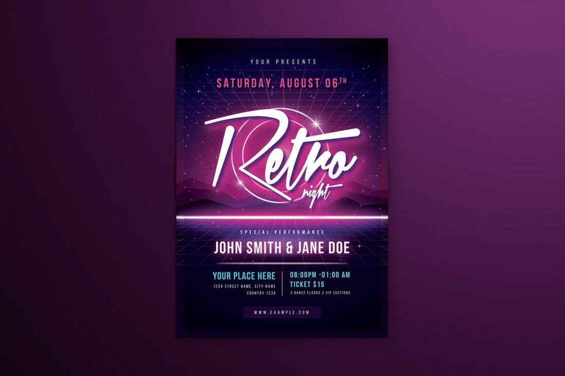 80's Retro Neon Club Flyer Template
