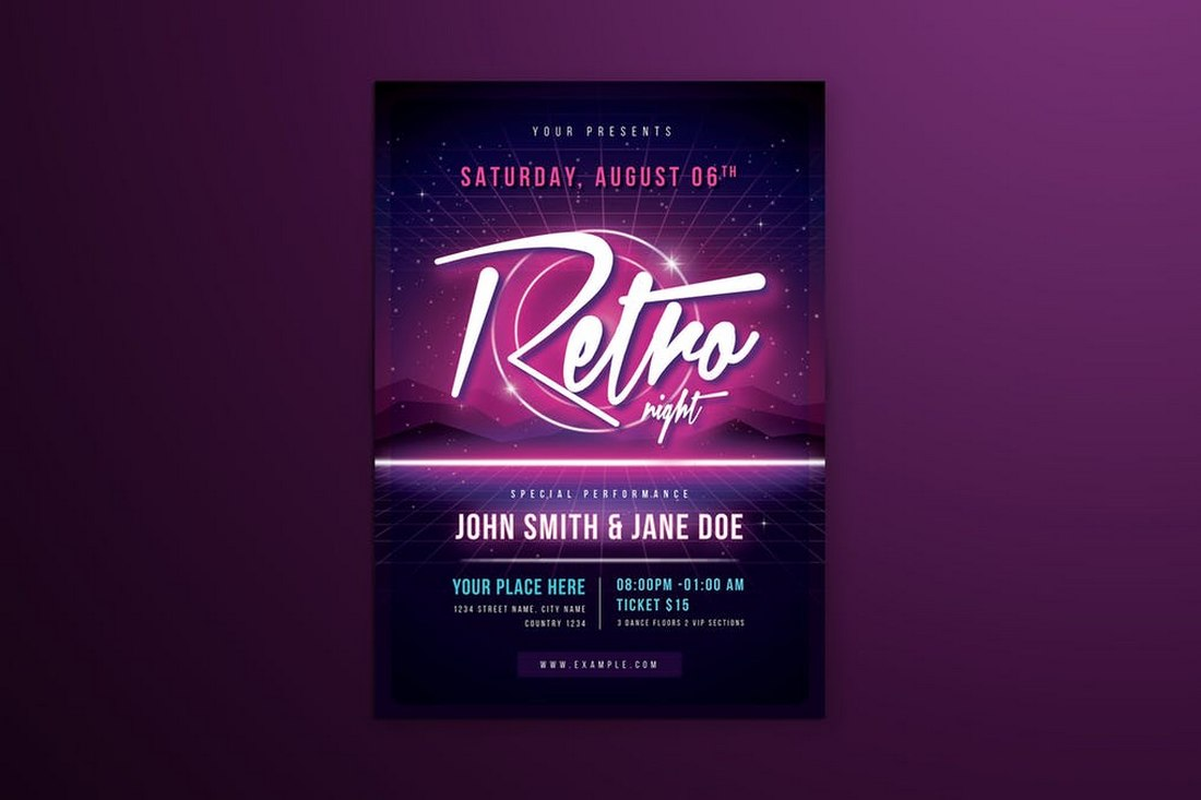 80s-Retro-Neon-Club-Flyer-Template 20+ Best Club Flyer Templates design tips  Inspiration