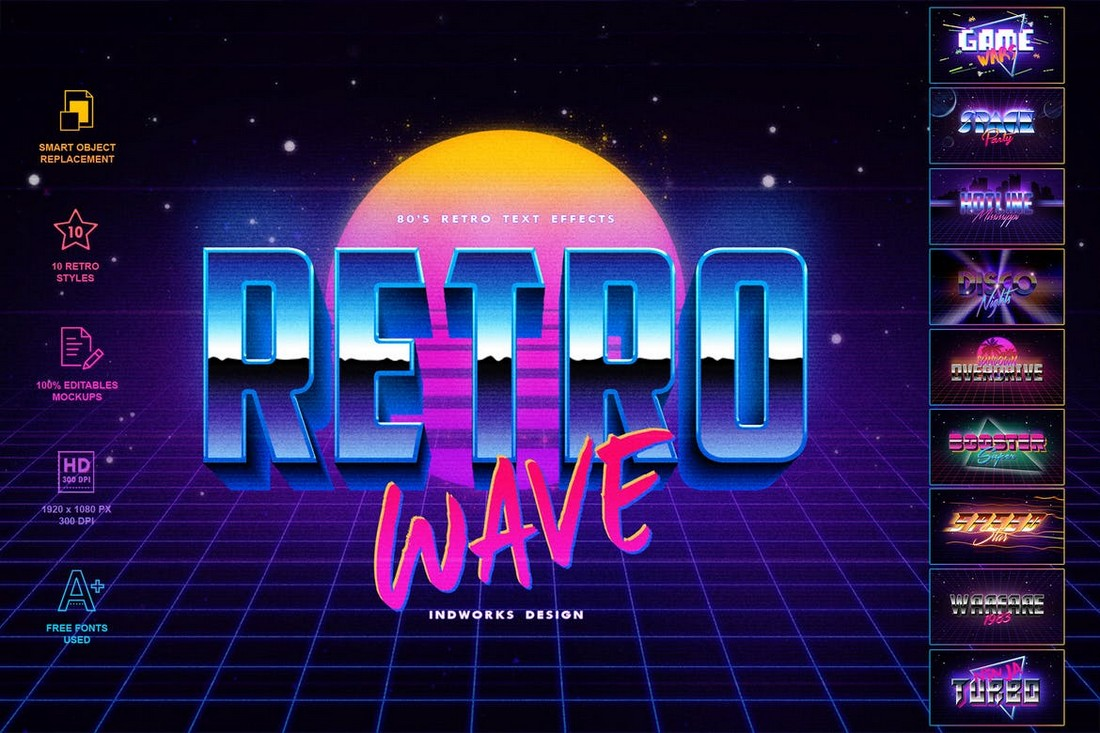 80's Retro Text Effects PSD Layer Styles