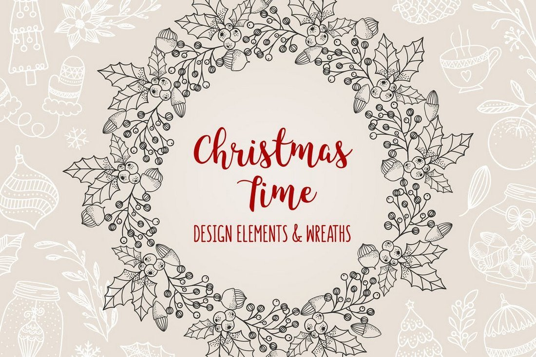 85 Hand-Dawn Christmas Elements & Wreaths