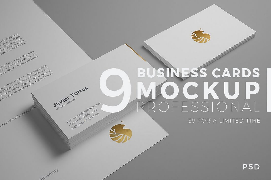 9 Business Cards Mockup Professional