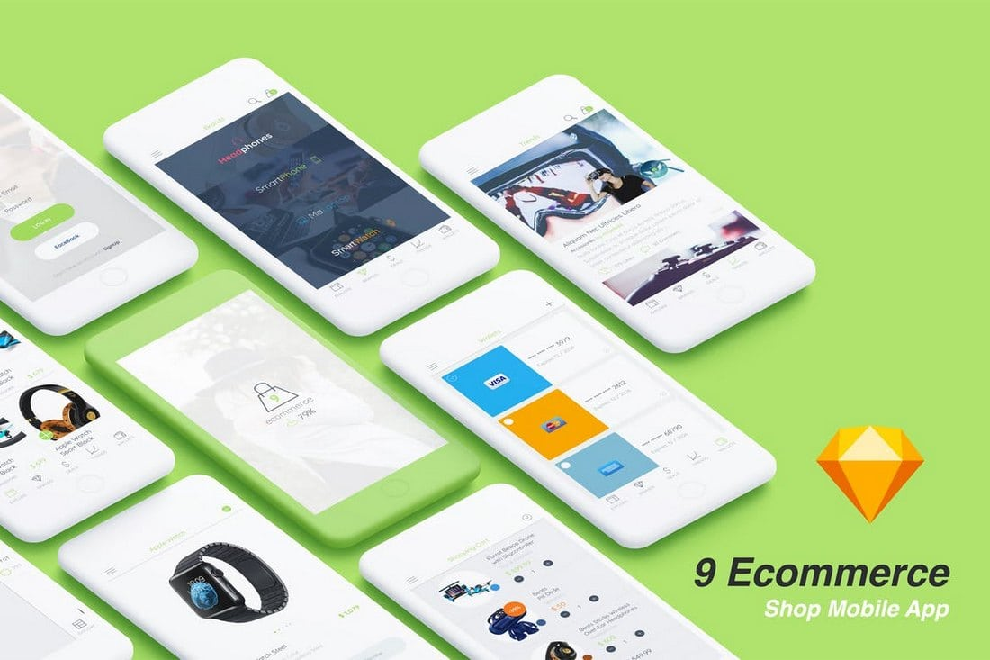 9 Ecommerce Shop Sketch App Templates
