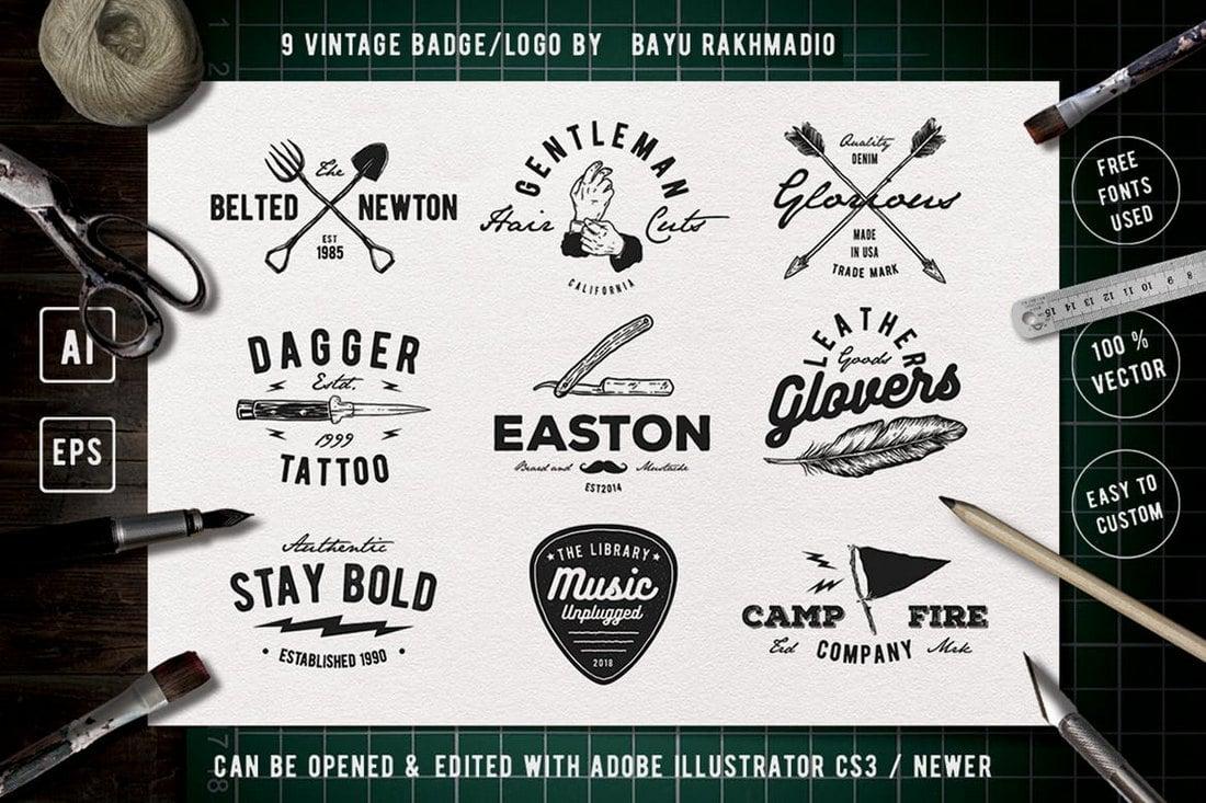 9-Vintage-Badge-Sign-Templates 20+ Best Sign Templates & Mockups design tips