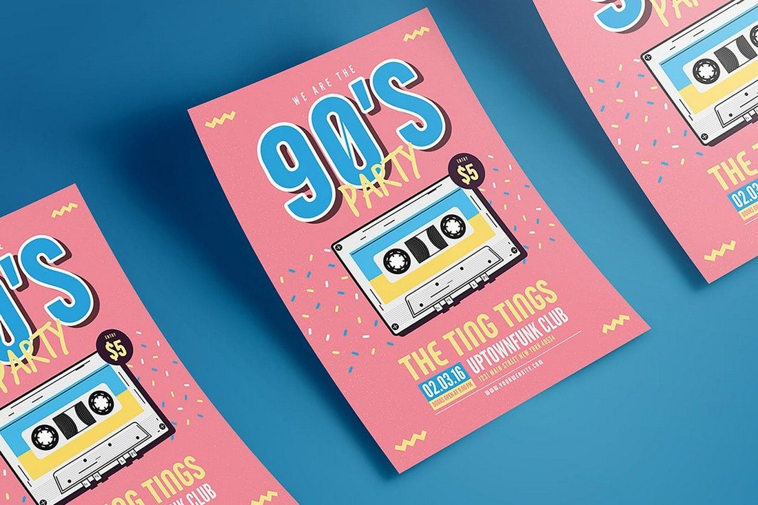90s-Music-Flyer 30+ Best Music & Band Flyer Templates design tips