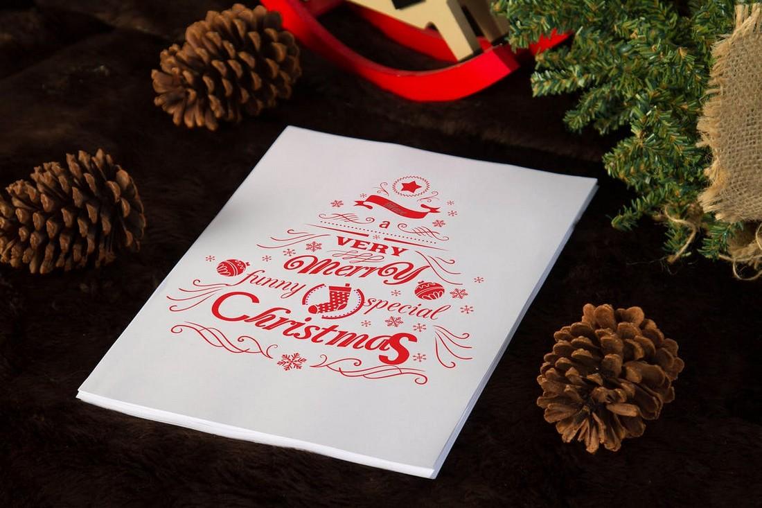 A4 Brown Christmas Mockup