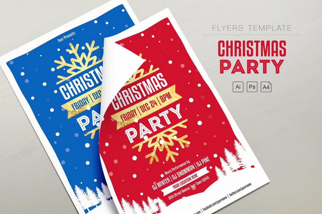 A4 Christmas Party Flyer Template