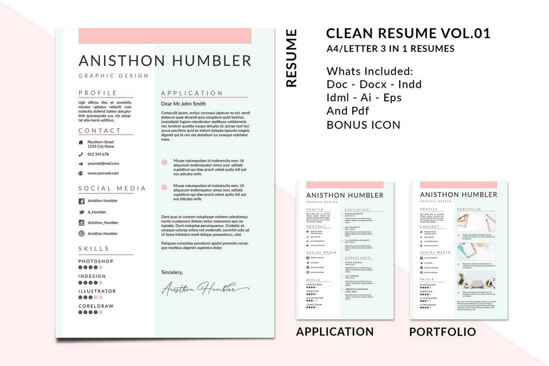 A4-Letter-Clean-Resume-Templates 50+ Best CV & Resume Templates 2020 design tips