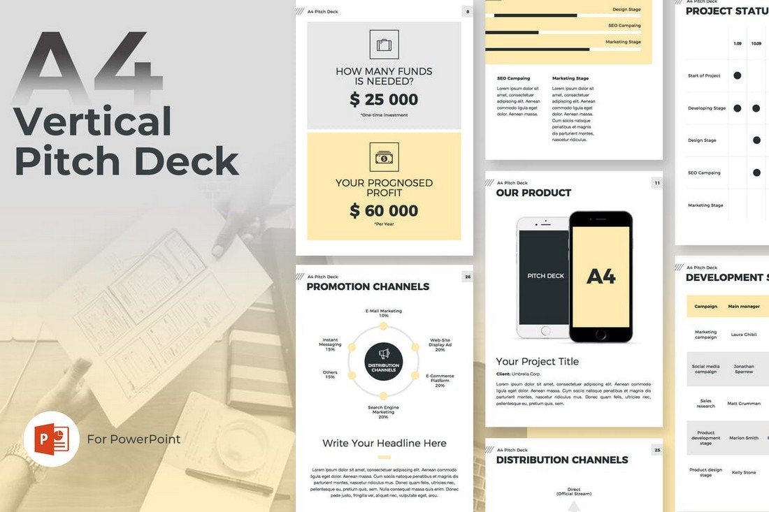 A4 Pitch Deck Vertical PowerPoint Template