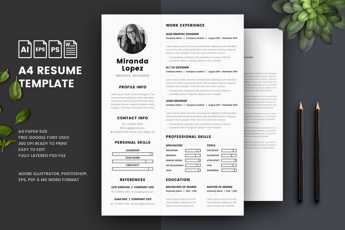 A4 Resume & Cover Letter Word Templates