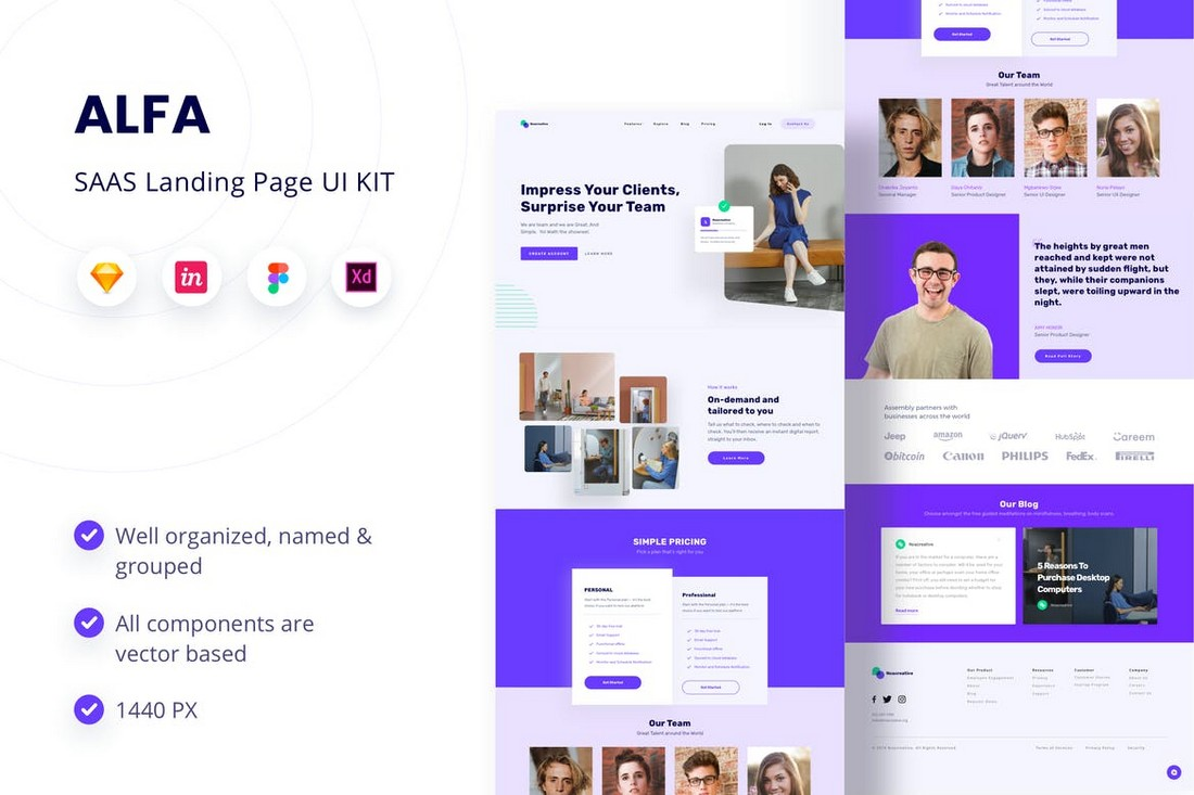 ALFA - SAAS Landing Page UI KIT for Sketch