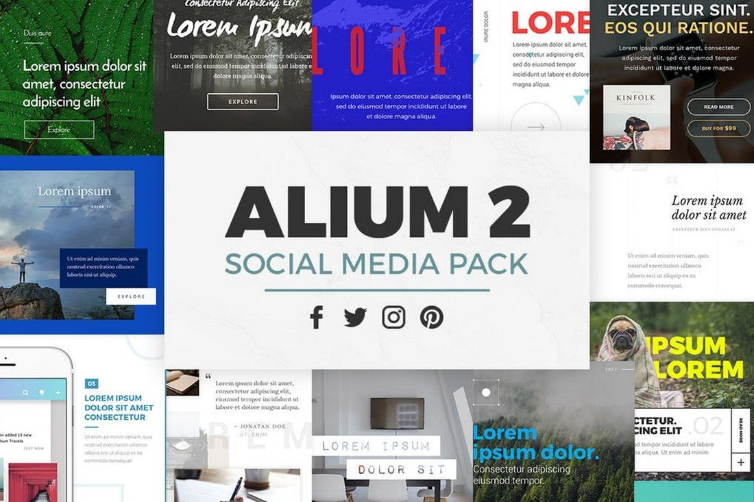ALIUM-2-Social-Media-Pack 30+ Best Instagram Templates & Banners design tips