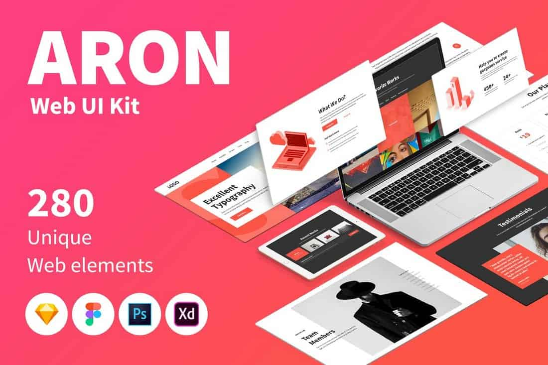 ARON Web UI Kit Sketch Templates