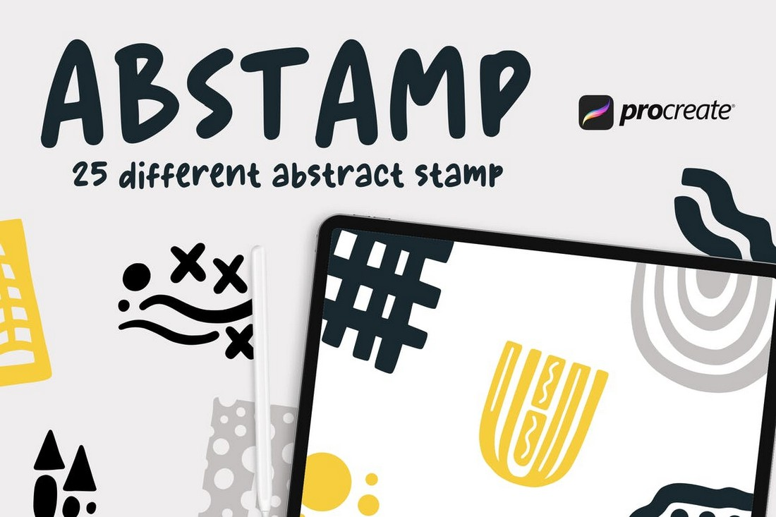 Abstamp - 25 Abstract Stamp Procreate Brushes