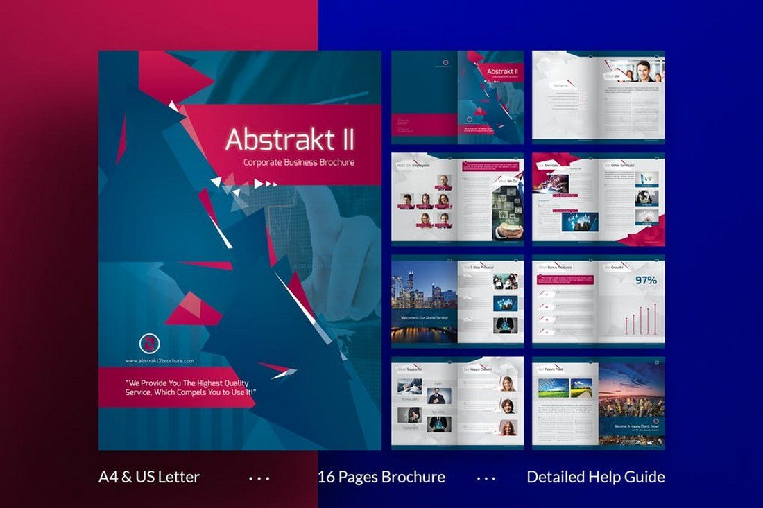 this 16 page brochure can be used to create many different types of documents for various types of businesses and agencies the template includes 16 custom